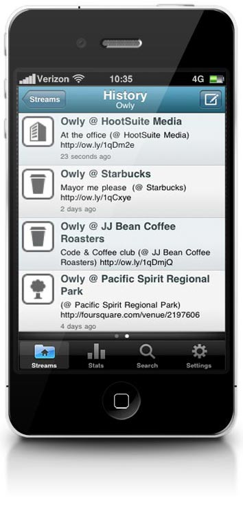 iPhone with iOS4 Stream Hystory