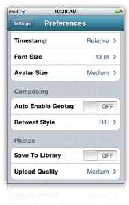 Preferences Galore in HootSuite for iPhone
