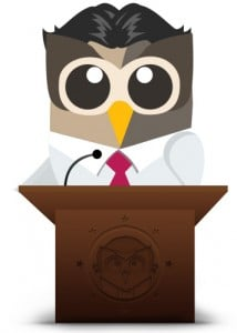 HootSuite Owly gives a speech