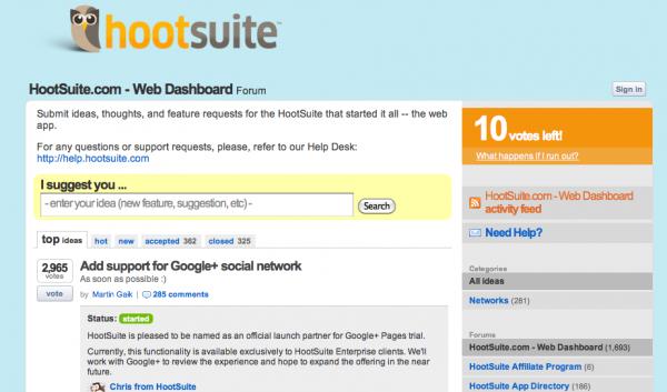 HootSuite UserVoice TechCrunch