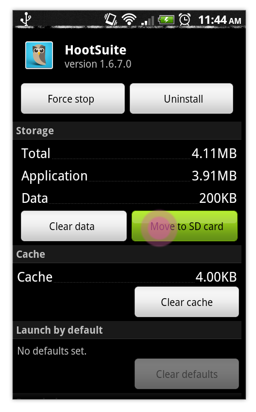 Move HootSuite to SD Card Android