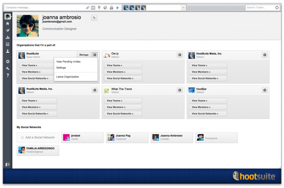 HootSuite Teams: profile settings large