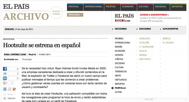 El conocido periódico 'El País' usa HootSuite y le dedica un artículo tanto online como en papel