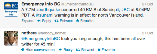 Earthquake Tweet