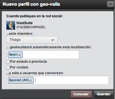 Screenshot, Spanish Geo targetting