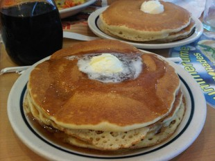 Do we really have to arm twist you into eating IHOP pancakes for a good cause? Flickr image by sm0re