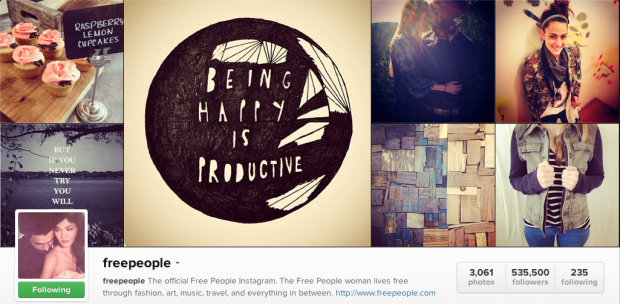 Online shopping site, Free People's Instagram. What would your followers take pics of? Start there and then add creative photoshoots with your product. Treat Instagram like your brand's lifestyle zine.