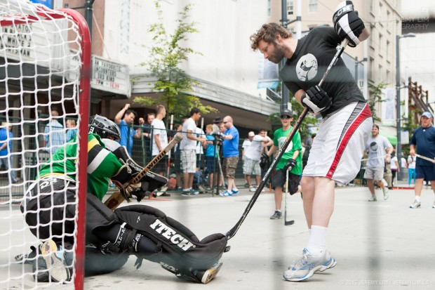 Dan Mangan sniping goals wearing a HootSuite shirt - are you ready for #sxhockey?