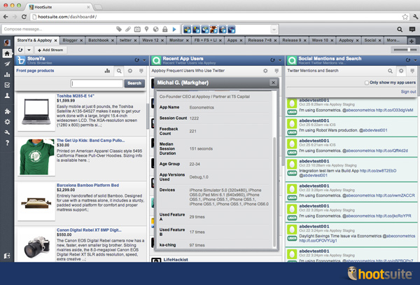 StoreYa and Appboy in the HootSuite dashboard