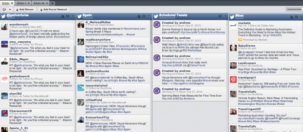 "G Adventures monitors brand associated keywords and search streams in their dashboard. They've also saved a stream for their ""Scheduled Tweets"" this is useful to see how upcoming tweets relate to live social feeds. Click to zoom in."