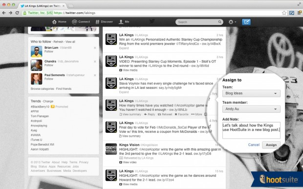 Assign messages directly from Twitter.com