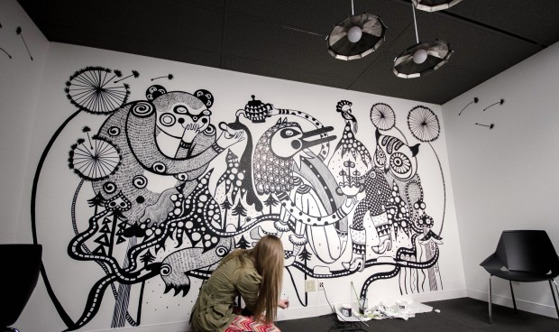 Ola Volo's Mural shows a group of animals having a tea party, though it's filled with other little surprises. Photo courtesy Ola Volo.