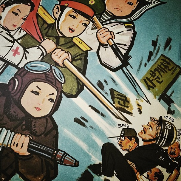 Painted propaganda, showing North Korean children in armed services uniforms attacking U.S., Japanese & SKorean soldiers, hangs in a room inside a Pyongyang kindergarten. Instagram by David Guttenfelder