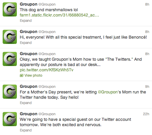 """GroupOn had the """"GroupOn Mom"""" run its Twitter account in advance of Mother's Day, with hilarious results."""