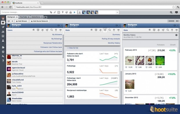 Add Statigram to your HootSuite dashboard for quick access to all of your Instagram stats. Click to zoom in.