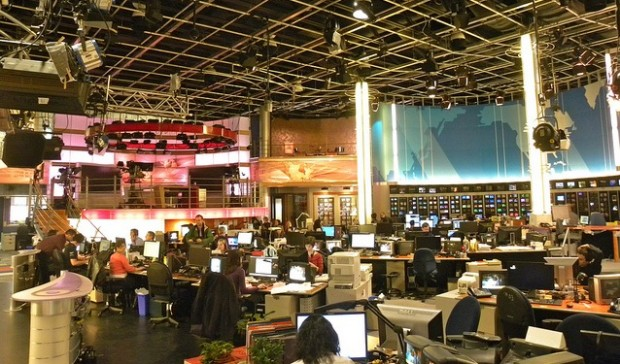 This impressive Montreal, Canadian newsroom is the world's largest French newsroom outside of France. Flagship newscasts on Radio-Canada along with Réseau de l'information (RDI) programming are broadcast from here. Image from Jason Paris, flickr.