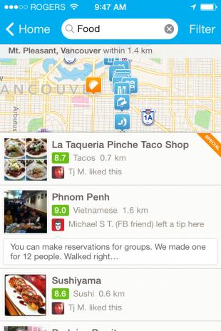 Foursquare iOS7 app