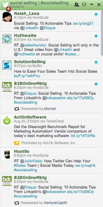 Sample of a Boolean search stream on HootSuite.