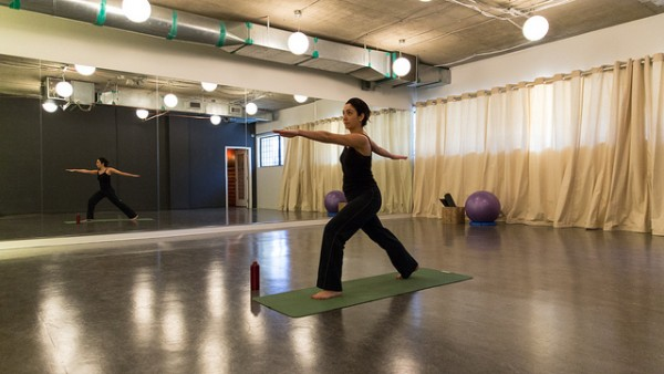 HootSuite's yoga room hosts complimentary classes for staff.