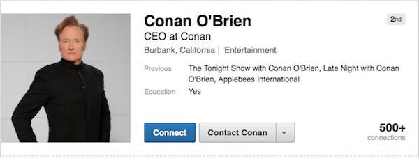 Conan LinkedIn Profile