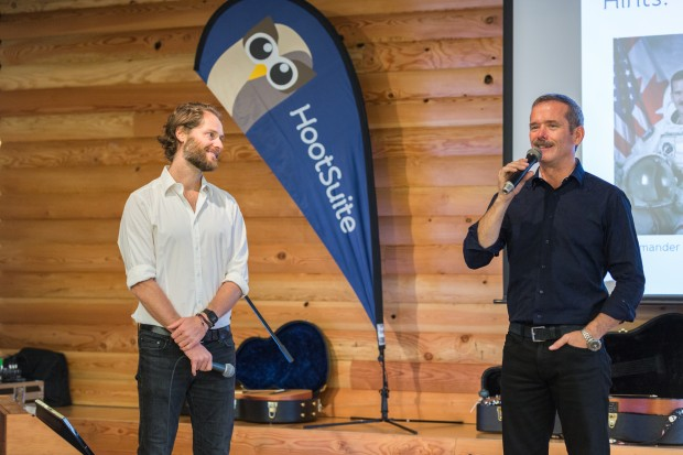Social-savvy astronaut Chris Hadfield and HootSuite CEO Ryan Holmes.