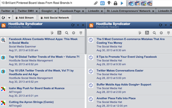 Manage all your RSS feeds with the HootSuite Syndicator.