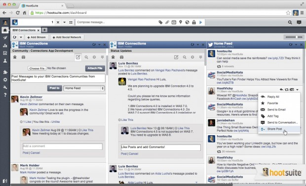 Unique HootSuite integration allows IBM Connections users to view content from Twitter and other social networks alongside IBM Connections content.