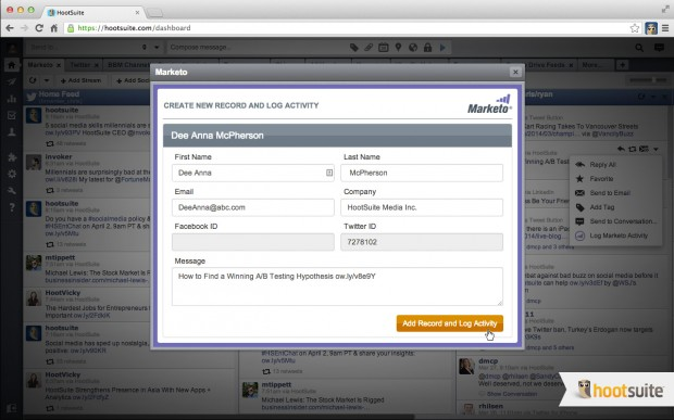 Add Social Activity to Marketo from the HootSuite dashboard