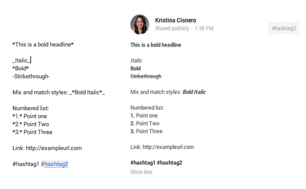 Google Plus Formatting Guide