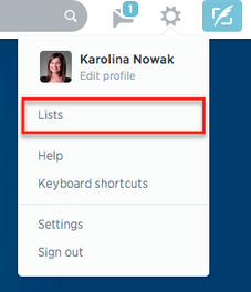 Adding a Twitter List from the gear button on Twitter
