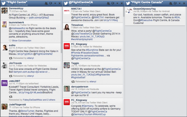 Twitter Tips from Flight Centre Canada about Monitoring Keywords