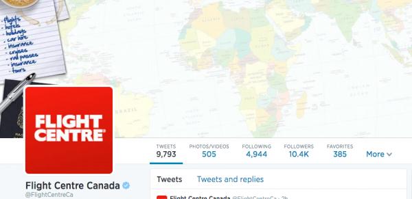 Twitter Tips from Flight Centre Canada