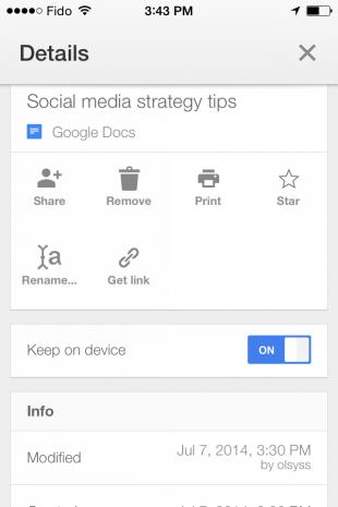 Google Doc mobile work app