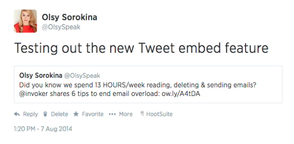Twitter embed feature