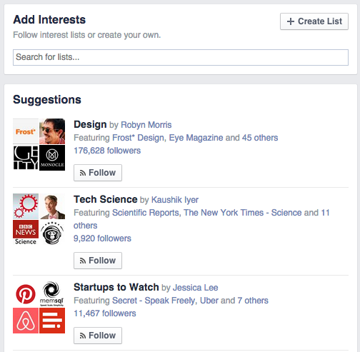 Add Facebook Interest Lists - Social Network Features