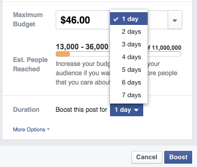 Facebook Boost Posts - Determine Your Budget and Reach