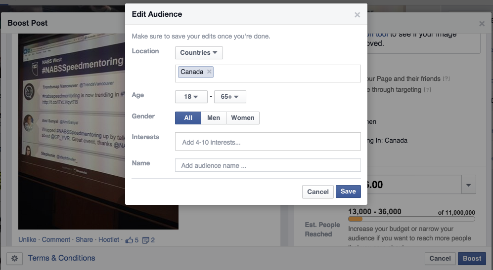 Facebook Boost Posts - Select Your Audience 2