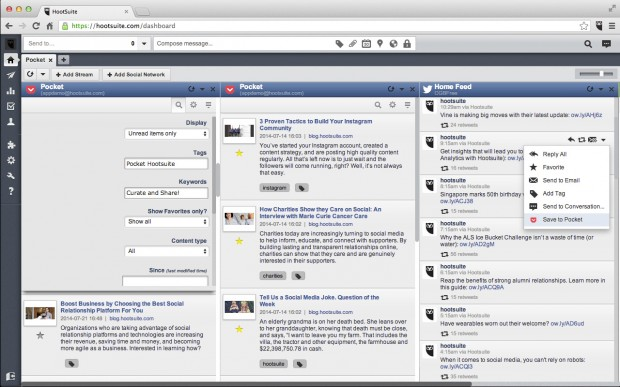 Save a post from Twitter or Facebook to Pocket, and filter through tags or keywords to identify your favorite articles from the Hootsuite Dashboard