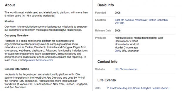 Social Media Profiles - Facebook Company Bio
