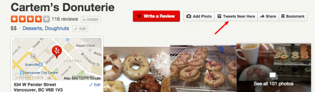 Advanced Twitter Search - Hootlet on Yelp Cartems Donuts