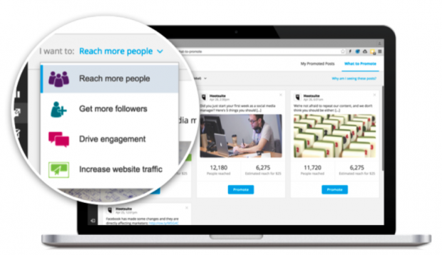 Hootsuite provides Twitter ad support for easy promotion of your content