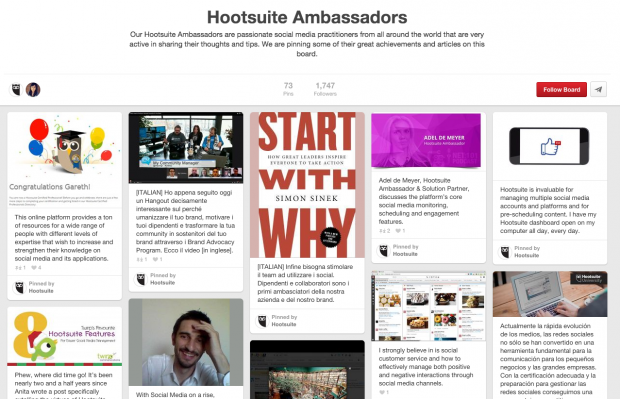 The Hootsuite Ambassador board