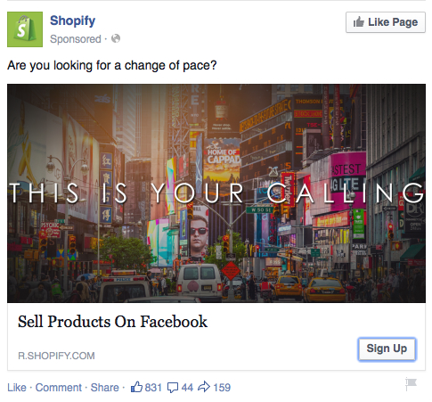 Shopify's Facebook ad