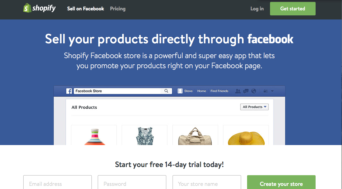 social media ad Shopify - examples of landing pages