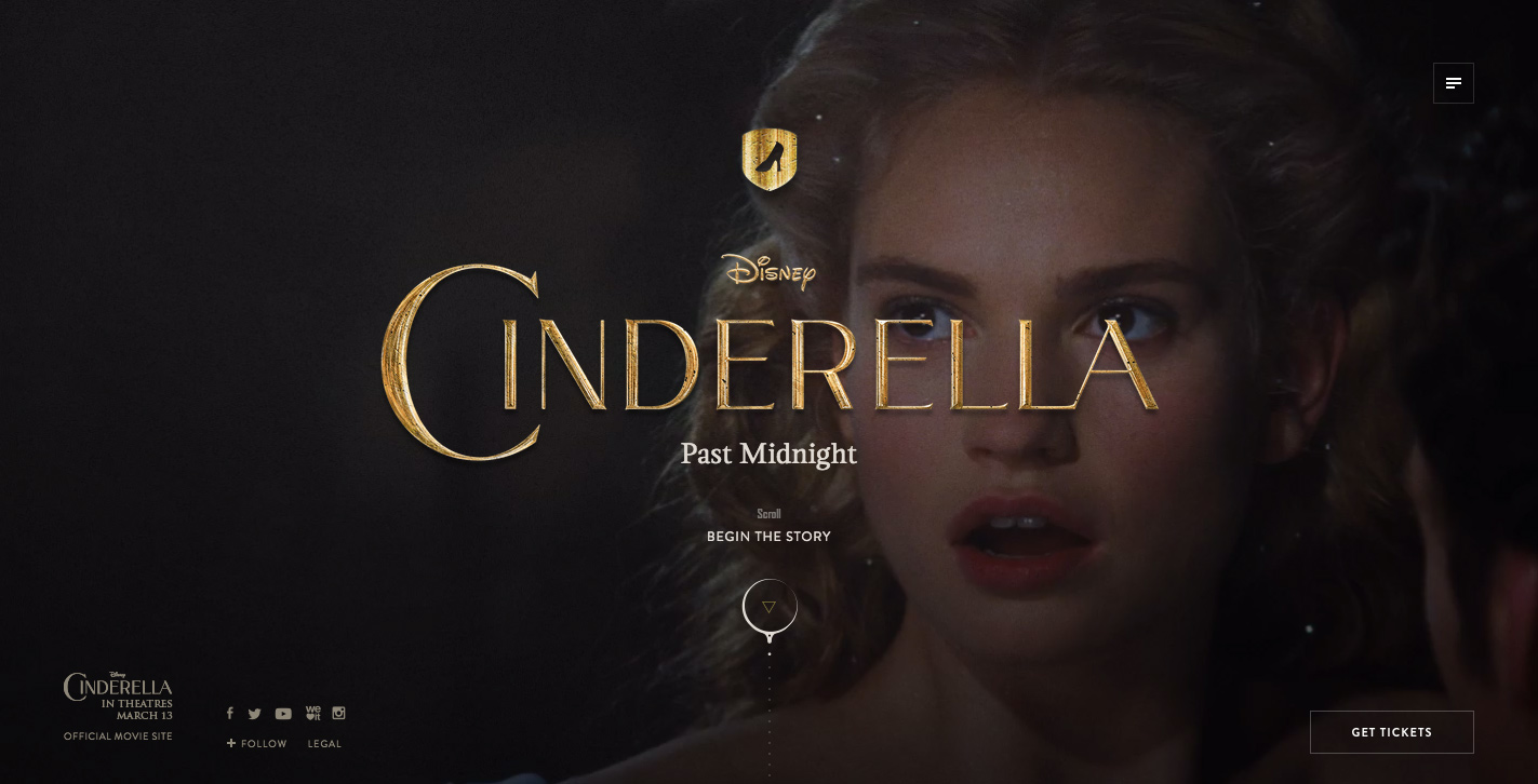 Cinderella Past Midnight's website has one of the best social media integration