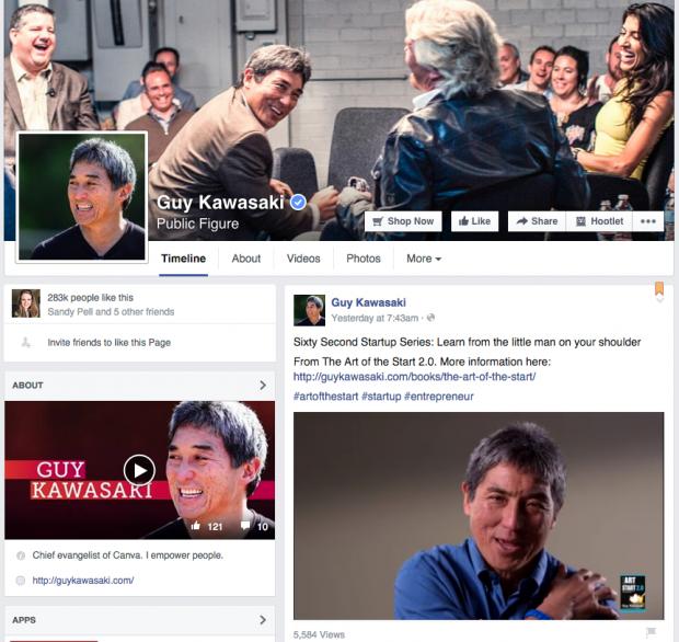 Entrepreneur Guy Kawasaki's Facebook Page