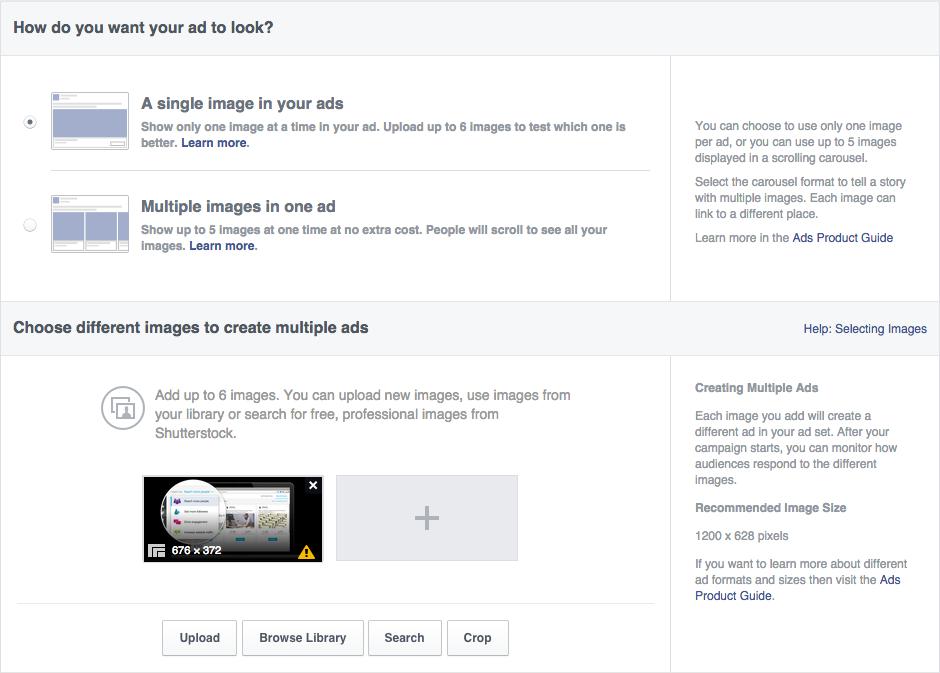 Crear un anuncio en Facebook plantilla de creación