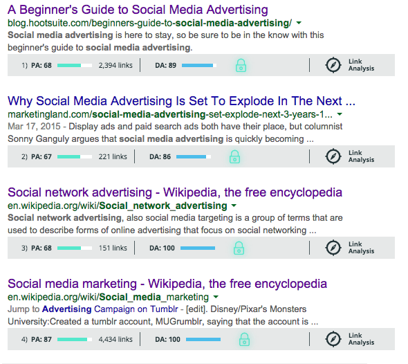 MozBar results for a search on social media advertising