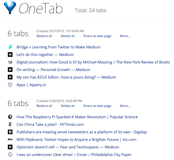 Best Google Chrome Extensions - OneTab Screenshot