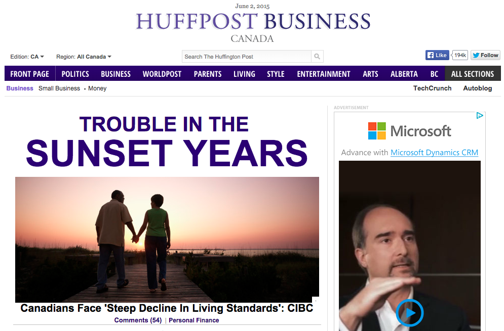 An example of a display ad on the Huffington Post website